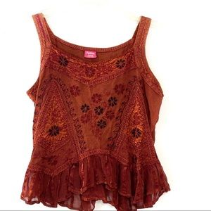 Tops - Embroidered Tank Top free size